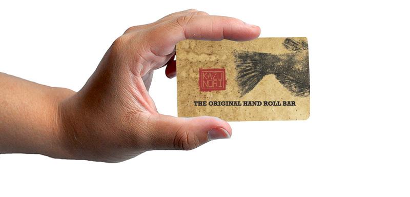 hand holding KazuNori Gift Card